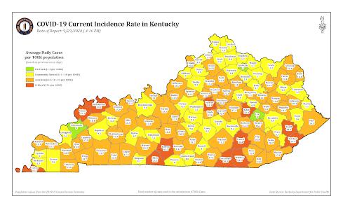 Kentucky coronavirus incidence rate map