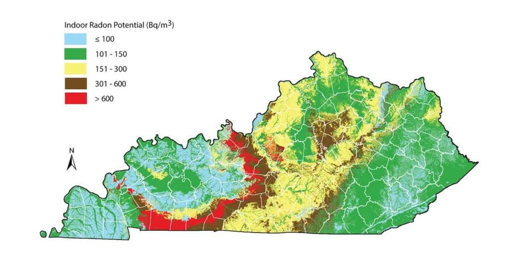 radon gas potential map of Kentucky
