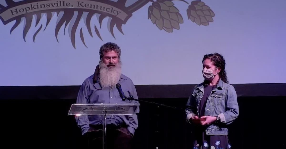 Hopkinsville Brewing Co. owners Joey Medeiros and Kate Russell at small business awards ceremony