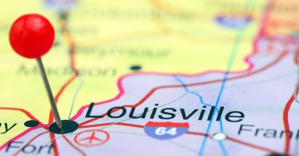 Louisville on map feature