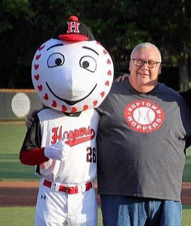 Hoptown Hoppers mascot Stitches with general manager Ted Jatczak