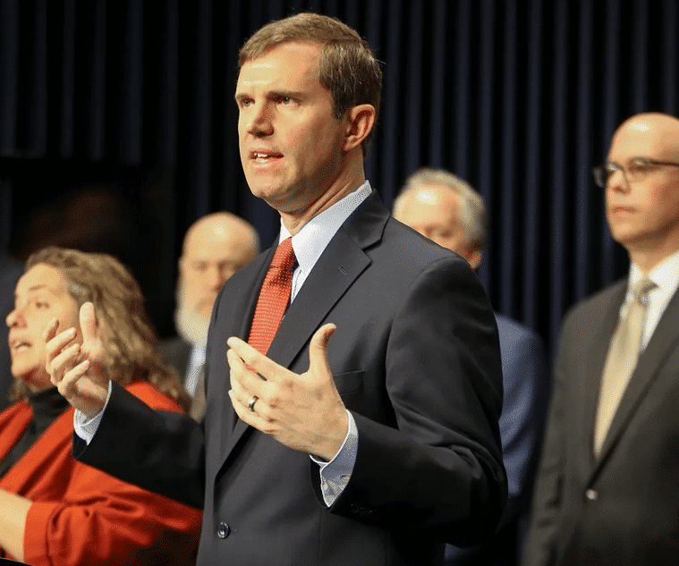 andy beshear at first press briefing